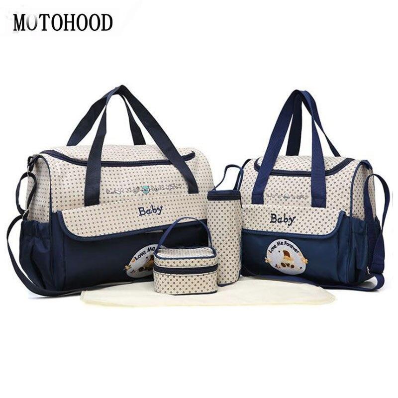 MOTOHOOD 38*18*30cm 5 stücke Baby Windel Tasche Sets ändern Windel Tasche Für Mama Multifunktions Kinderwagen tote Tasche Veranstalter