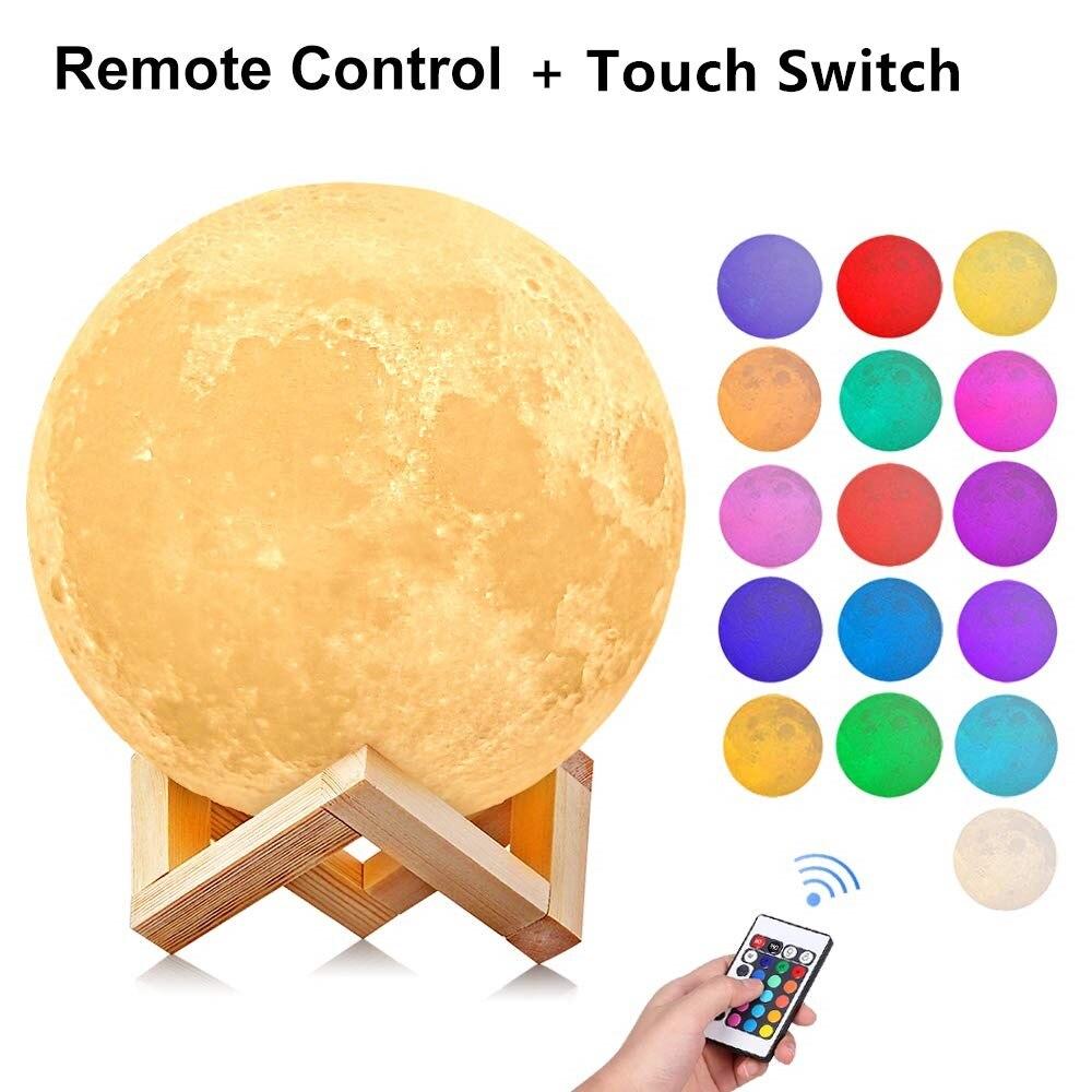 Lámpara de Luna 3D, decoración de dormitorio, luces LED de noche, Luminaria, de 16 colores Lámpara USB, luna con controlador para regalo de niños