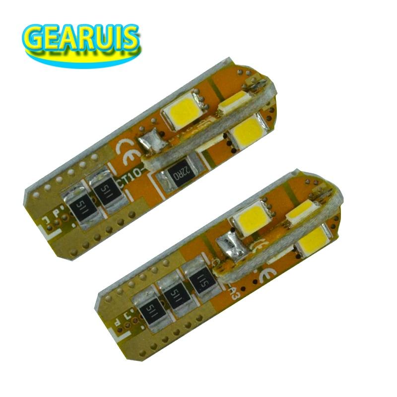 100 Uds Super brilhante T10 LEVOU Inundacao 0.15A 8 smd 2835 nenhum erro PCB 5 W con tacón de cuña 147 Porta Instrumento bombilla lateral lámpara puro