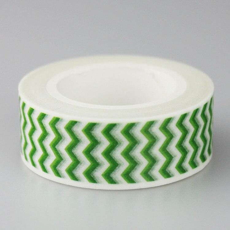 Bricolaje álbum de recortes papel cinta adhesiva verde ondulado decorativo Washi Tape