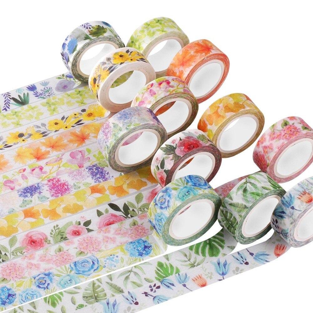 Kawaii lindo plantas flores japonés cinta adhesiva de Washi cinta adhesiva decorativa decoración Diy Scrapbooking etiqueta artículos de papelería con etiquetas