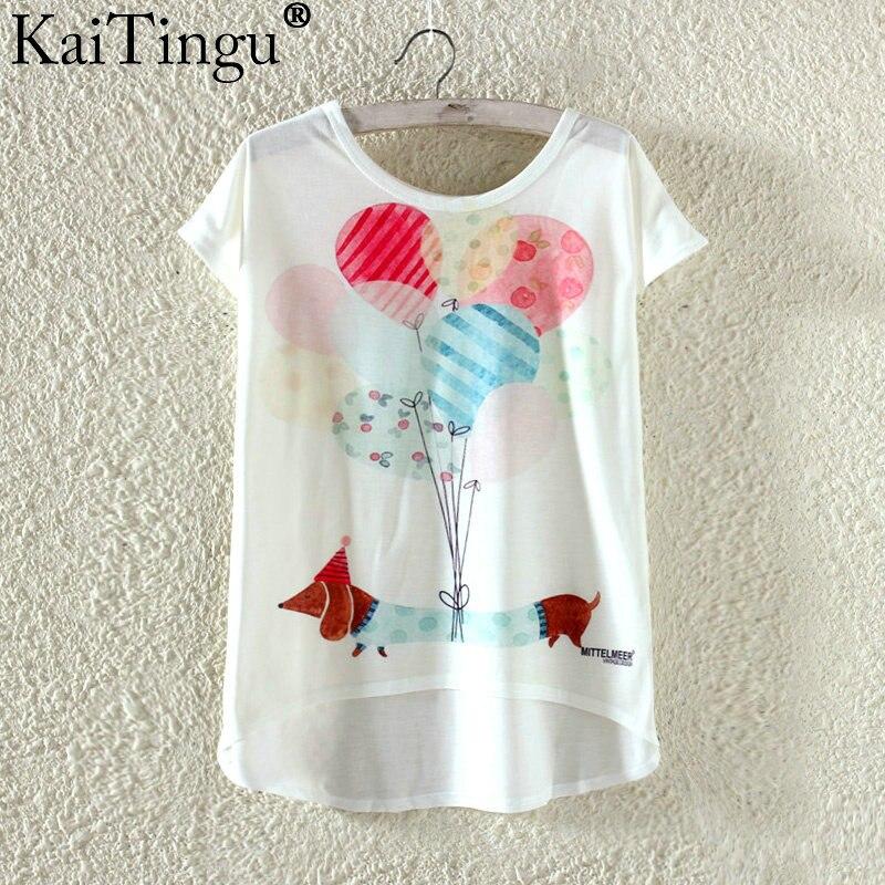 Kaitingu kawaii śliczne t koszula moda lato harajuku wysoki niski styl cat print t-shirt z krótkim rękawem t shirt kobiet topy plus size 14