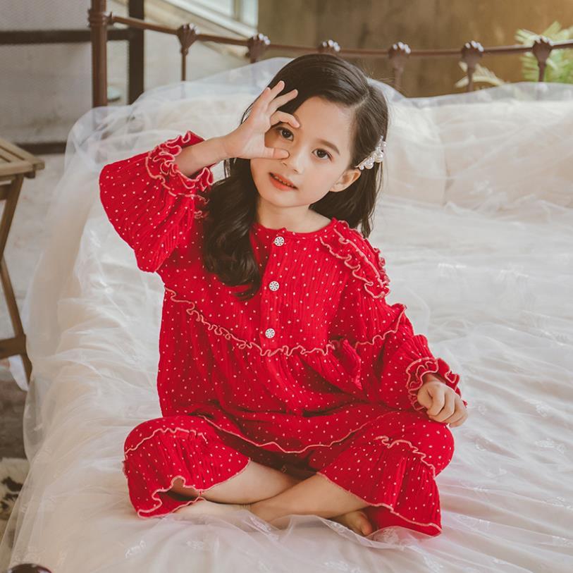 Primavera otoño nuevo ruffles princes Dot pijamas establece niñas de manga larga tops + Pantalones 2 uds conjuntos hoem ropa niños camisón