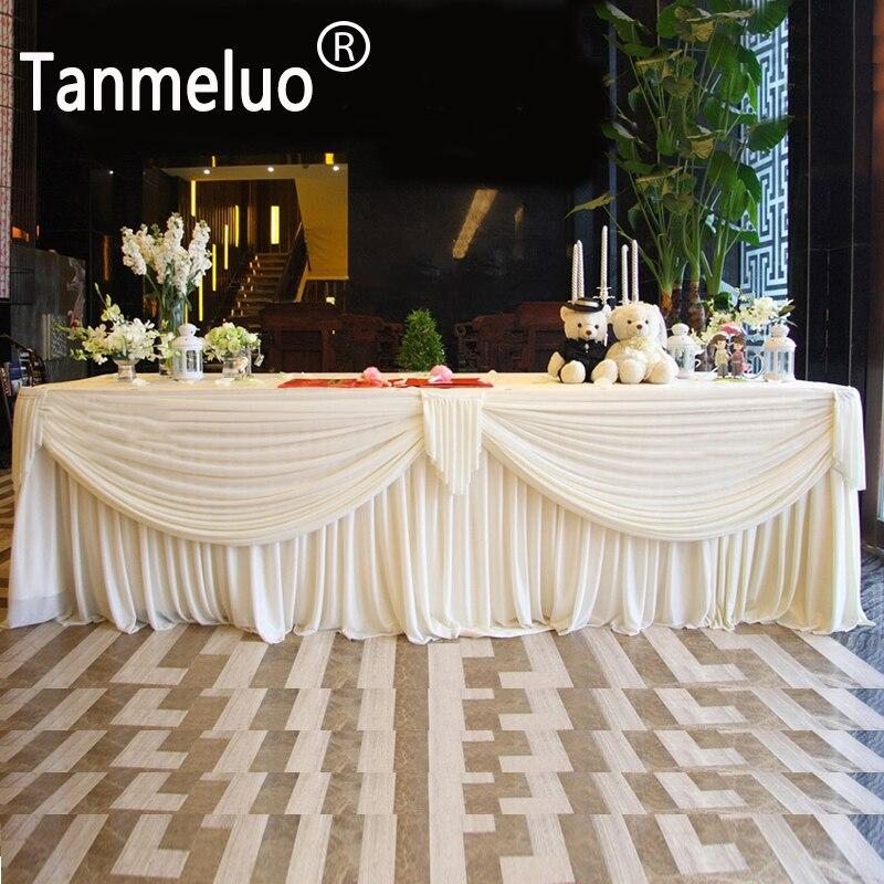 0.8x3 متر الزفاف الجدول التنورة الأبيض الجليد الحرير التفاف للطفل دش حفل زفاف تزيين المنزل