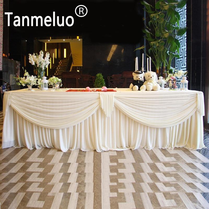 0,8x3 м свадебная скатерть для стола белая скатерть из ледяного шелка скатерть для детского праздника свадебное украшение домашний текстиль
