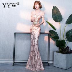 Ouro lantejoulas floral noite longo vestido de festa das mulheres sexy fora do ombro vestido sereia senhoras magro bodycon elegante vestidos formais 2019