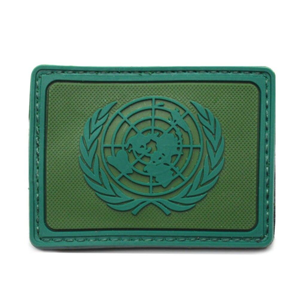 Venda quente internacional onu nações unidas pvc genuíno ombro braçadeiras crachá azul/verde