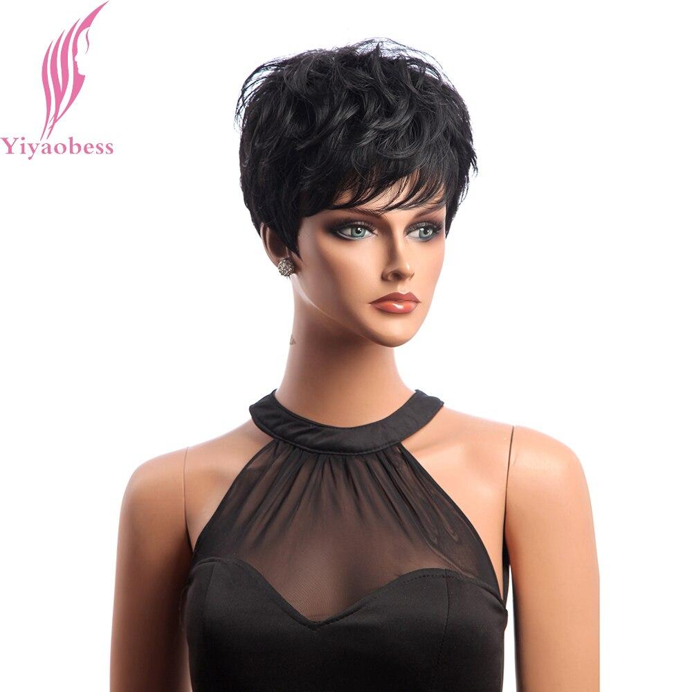 Yiyaobess Kurze Schwarze Perücke Lockiges Haar Synthetische Natürliche African American Perücken Für Frauen Japanische Faser