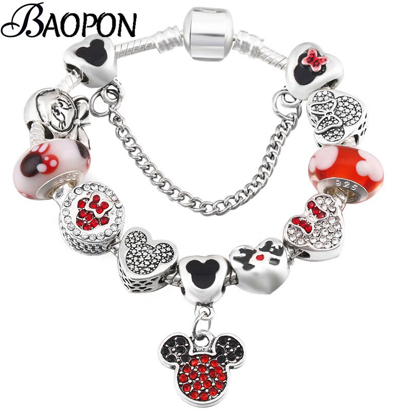 Silver Color Snake Chain Charm Bracelet With Mickey Enamel Beads Fine Bracelets & Bangle For Women Kids Jewelry Dropshipping