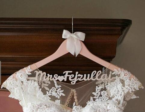 Personalized rustic wedding bridal bride wood dress hangers Date and Name bridesmaid maid of honor gifts party decorations
