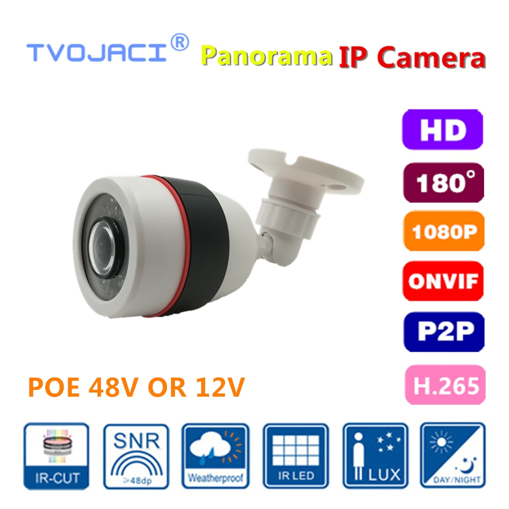Cámara panorámica de vigilancia de red 2.0MP 1080P IP POE 48V CCTV cámara infrarroja al aire libre impermeable 180 grados APP H.265 H.264