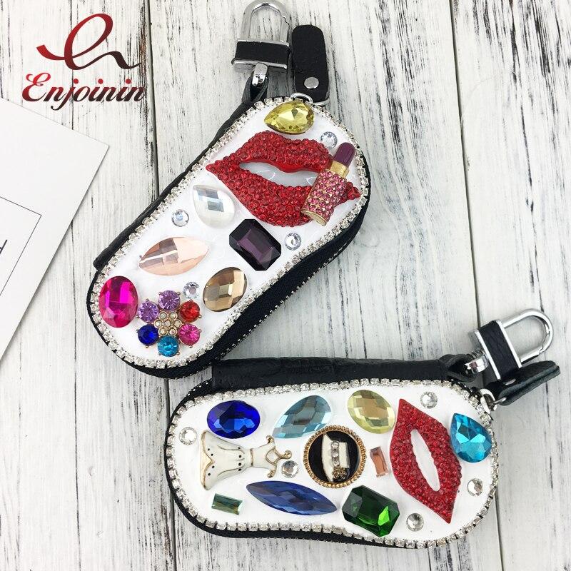 Роскошный модный чехол для ключей, из натуральной кожи, с алмазным цветком и жемчугом
