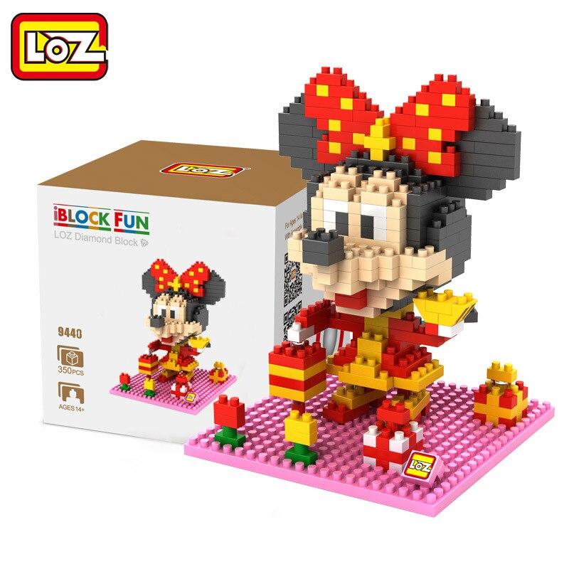 High quality LOZ Diamond Blocks Doll Mickey Minnie Mouse Donald Daisy Building Blocks early Educational Action Figure Toys kids