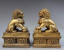 Chinese Folk FengShui Kupfer Messing Fu Foo Hund Guardion Lion Tier Statue Paar