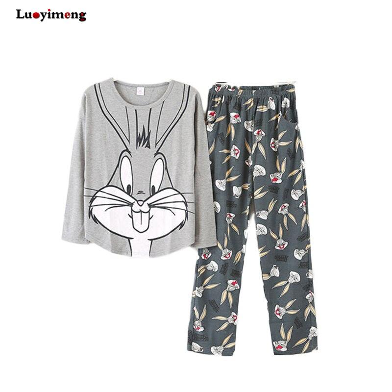 Novo outono pijamas conjunto meninas dos desenhos animados pijamas terno homewear noite roupas femininas conjuntos de pijamas feminino casual noite terno