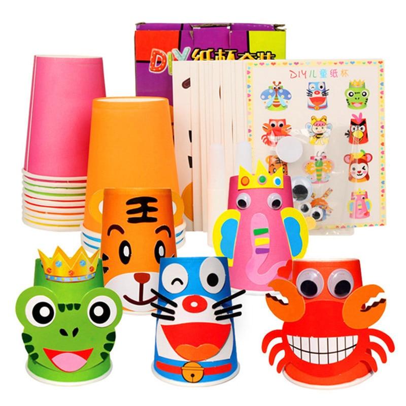 12 шт., детские 3D бумажные стаканчики ручной работы, Набор стикеров/весь комплект, детские школьные художественные Развивающие игрушки для р...