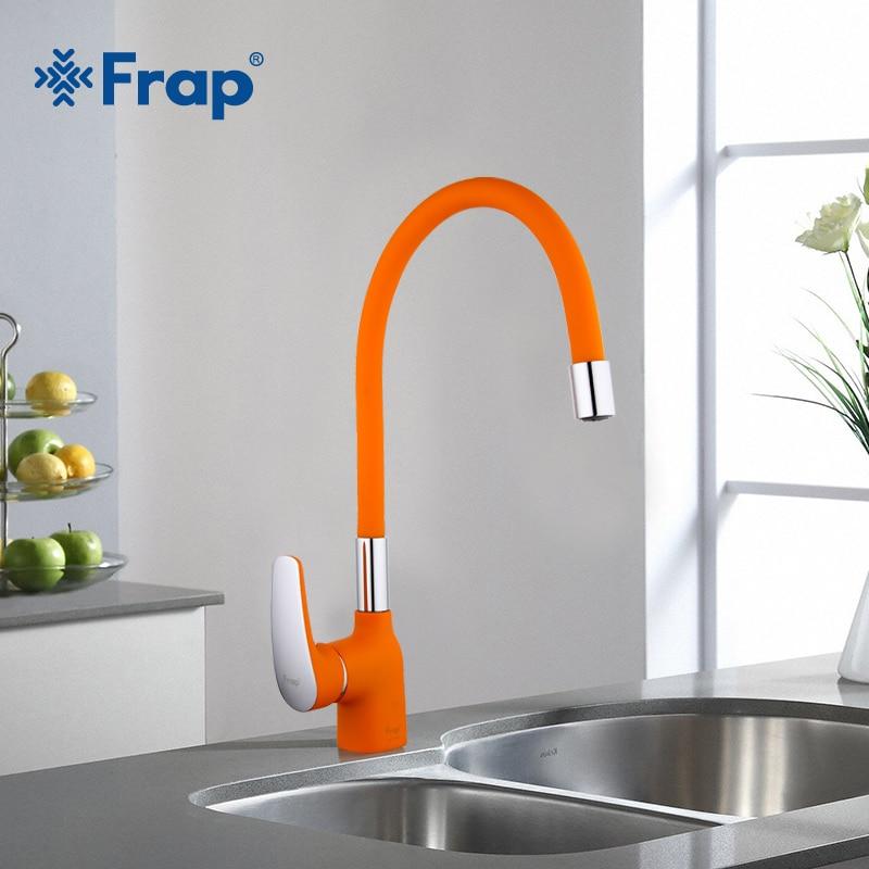Frap جديد وصول البرتقال السيليكا هلام الأنف أي اتجاه صنبور المطبخ الباردة والساخنة المياه خلاط Torneira Cozinha رافعة F4453-02