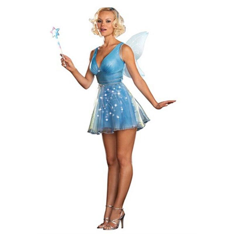 Sexy wald blaue fee Halloween kostüm mit flügel alice in wonderland fee cosplay kostüm in karneval Beuatiful cosplay anzug
