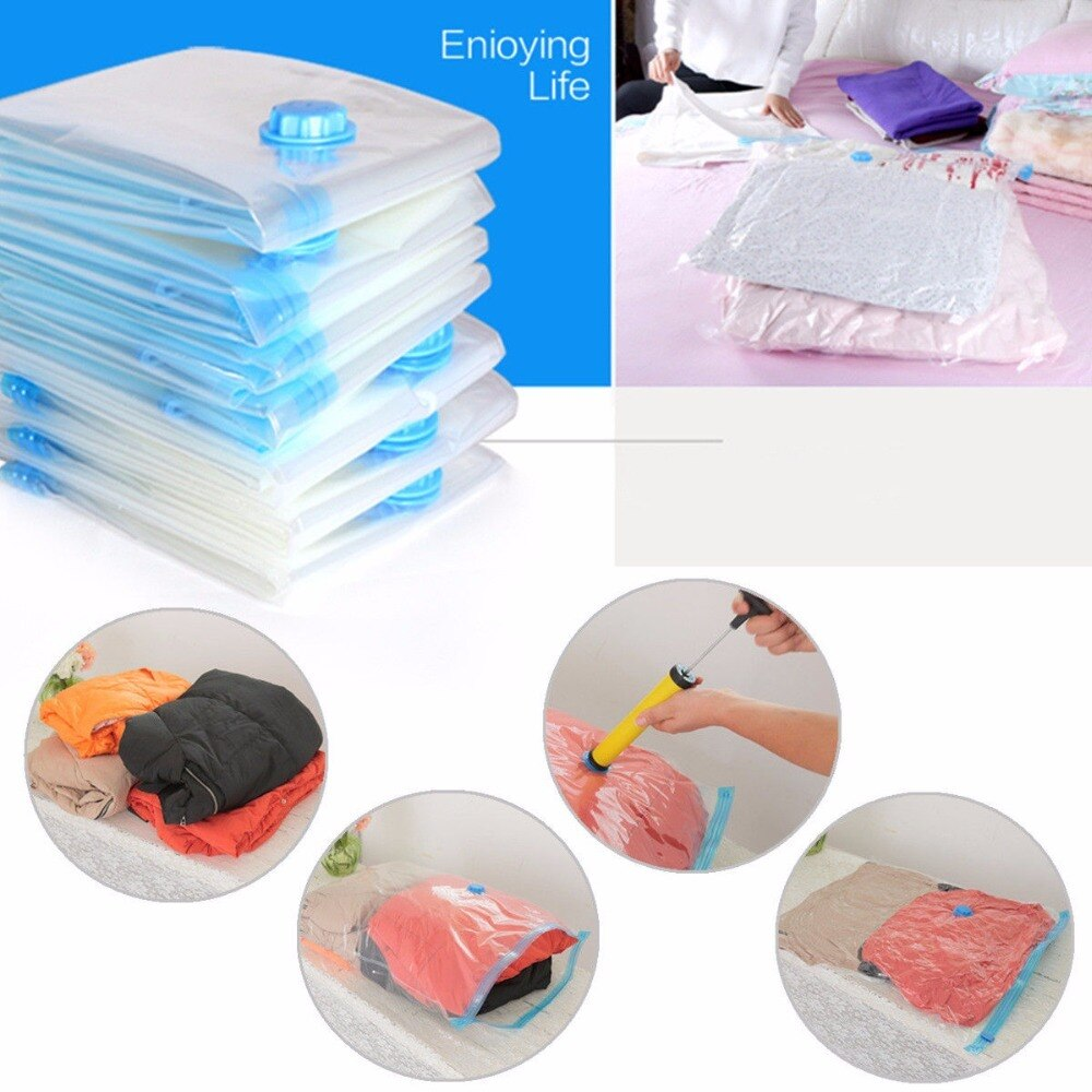 5pcs/lot Vacuum Bags For Clothes Luggage Organizer Clothing Storage Bag Transparent Large Compressed Zip Lock Plastic Bag