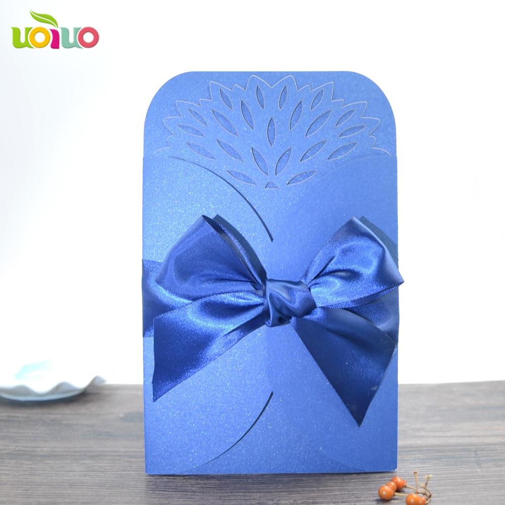 10 conjunto frete grátis cartão de convite de casamento azul do mar com top porta aberta flor