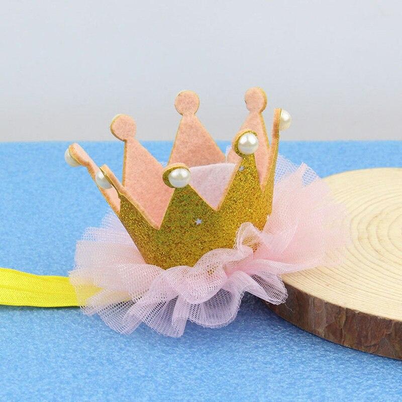 Bonito sombrero perlado de fiesta de cumpleaños para niños y niñas, corona de princesa dorada y rosa, sombrero para fiesta de 1er año, diadema de cumpleaños brillante