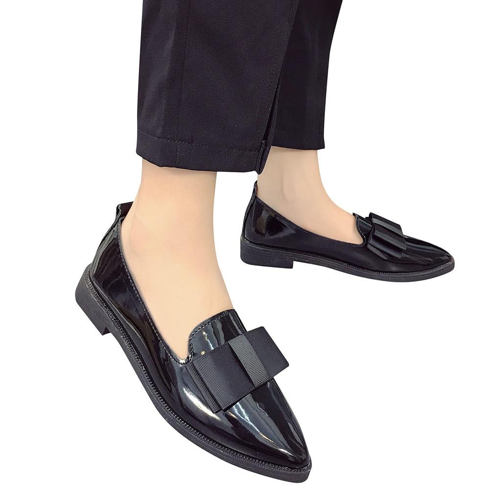 Mulheres sapatos de plataforma Apartamentos Senhoras gravata borboleta de Couro Saltos Baixos Sapatos Mocassins Escorregar No Dedo Apontado verão calzado mujer