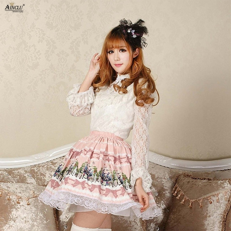 Japanese Style 2018 Sweet Princess Lolita Lace Skirts Alice Tea Series Printed Pleated Pink Lolita Cosplay Party Skirts XS-XXL