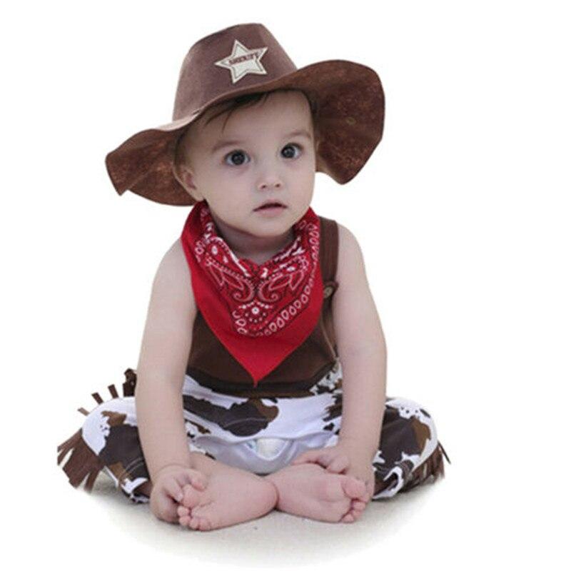 PUDCOCO 3 piezas bebé niño traje de vaquero conjunto de vestidos mameluco sombrero traje Formal boda