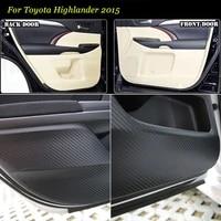 4pcs new interior carbon fiber doors side edge anti kick protection pad sticker for toyota highlander 2015