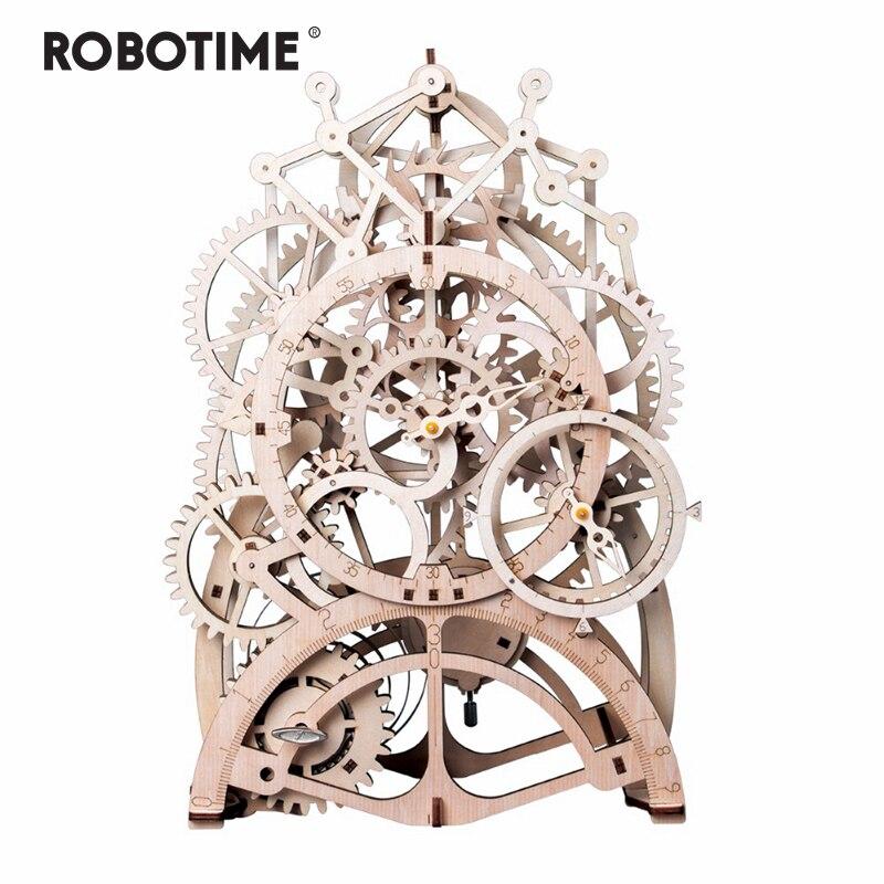 Robotime 4 tipos DIY de corte láser 3D modelo mecánico de madera Kits de construcción conjunto de juguete para regalo para niños adultos