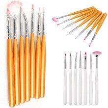 Nail Art pinceau stylo 2019 7 pièces/ensemble nylon cheveux alliage tube bois poignée pointillage peinture dessin UV Gel brosses manucure beauté outils