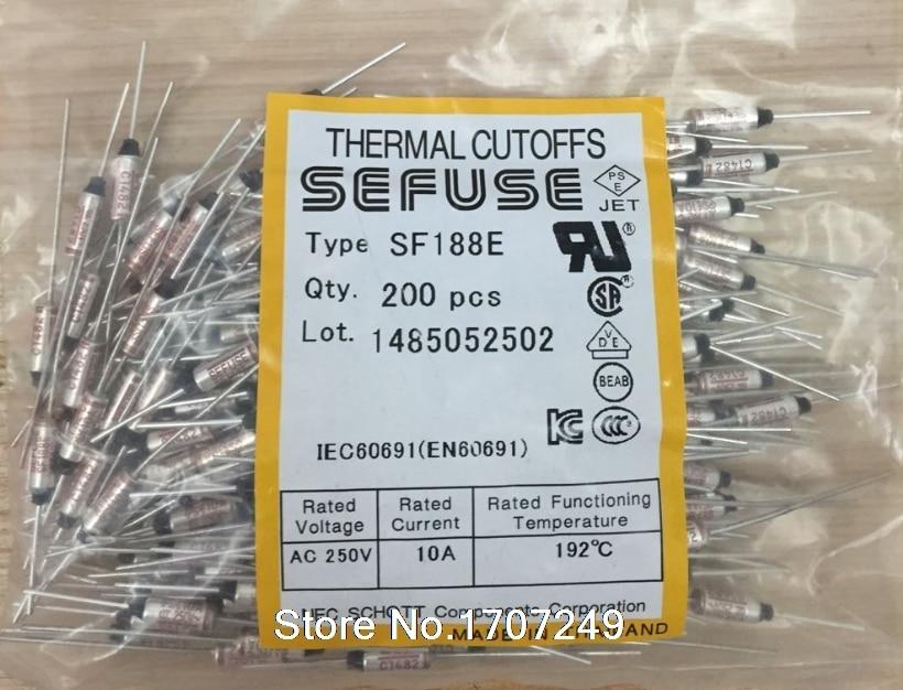 Fusible thermique SF188E, 100 pièces/lot de manchettes en métal, 192C, 192 degrés, 10A, 250V, SF188E, livraison gratuite
