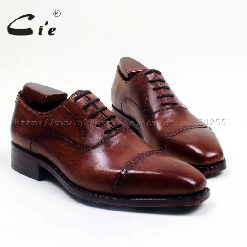 Cie квадратный кепки носком патиной темно-коричневый цвет; Туфли-оксфорды с натуральным лицевым покрытием; Телячьей кожи мужская кожаная обувь ручной работы кожаные ботинки мужские goodyear фальцовые flatox516