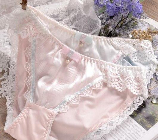 100% Real Photos M  L XL XXXL 3XL 5XL Plus Size Lovely Cute Lolita Kawaii Princess Sexy Lace Pearls Bow Panties Underwear Brief