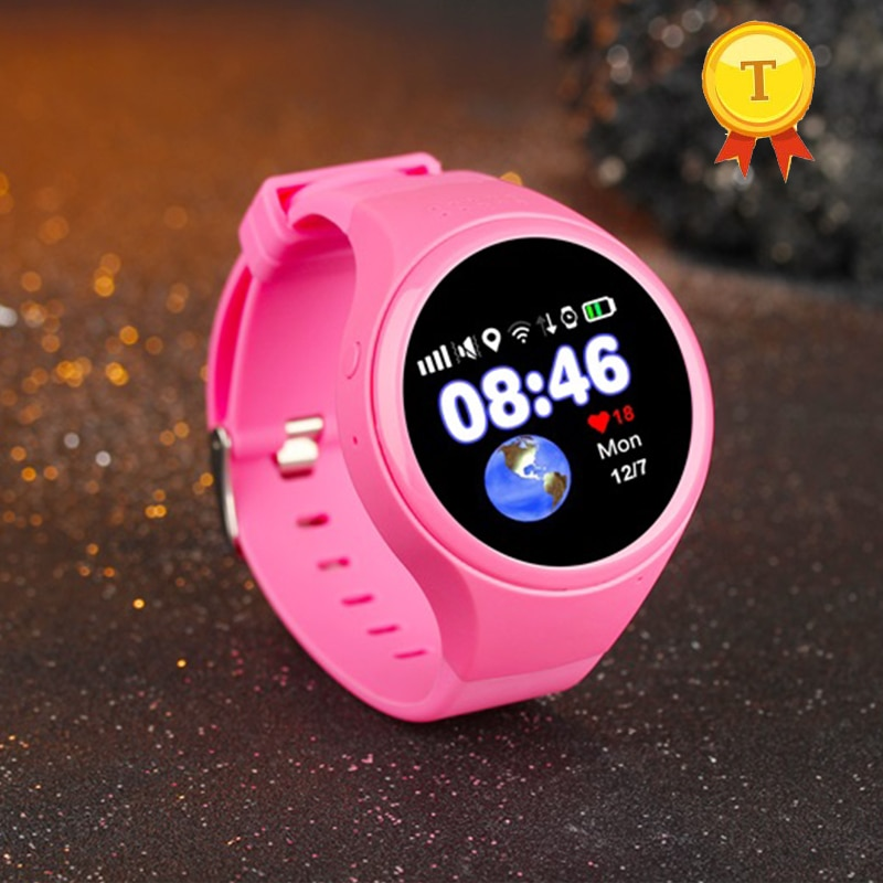 2018 a melhor venda Crianças rodada preto rosa azul Bebê Assistir SOS gps relógio Inteligente Wi-fi GPS Relógio pedômetro cartão SIM smartwatch