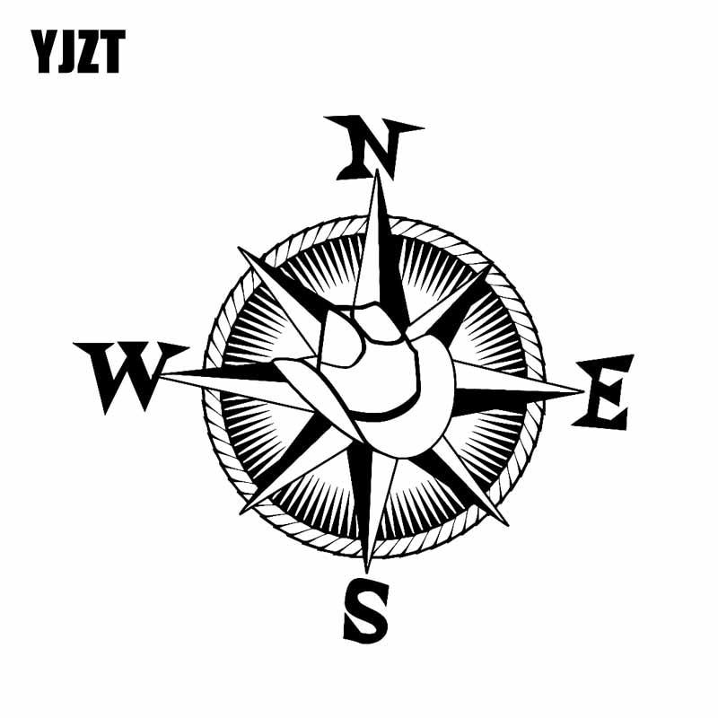 Pegatina de vinilo YJZT 19CM * 17,8 CM sombrero de vaquero brújula náutica viaje estilo occidental pegatina de coche negro plata C10-01166