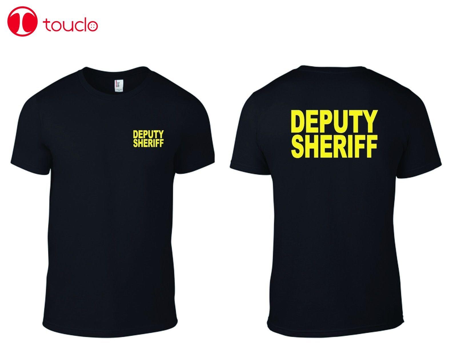 2 Side Men T-Shirt Deputy Sheriff Law Enforcement T-Shirts Military Mens T-Shirt Sweater