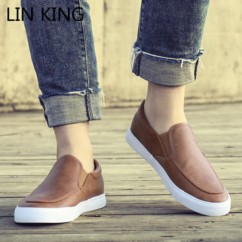 LIN KING Leisure Men Pu Leather Flats Shoes Slip On Outdoor Casual Shoes Low Top Lazy Shoes Non Slip Loafers Moccasins For Male pointed metal toe low top hommes chaussures leather slip on loafers heel masculino gold metal decor men shoes leisure male shoes