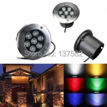 Venta de fábrica lámpara LED subterránea 7*1 W lámpara de iluminación LED de suelo sepultado AC85-265V o DC12V 20 unids/lote, ¡DHL/Fedex Envío Gratis!