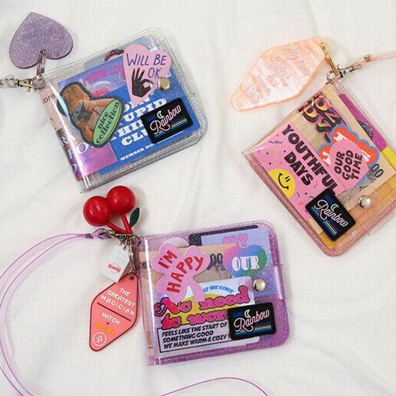 Кошелек для девочек Bentoy Milkjoy, прозрачный, прозрачный, с лазерным ремешком на шее, кошелек для монет, Женский кошелек с отделением для карт в К...