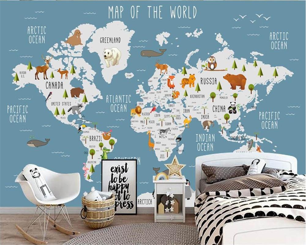 Custom wallpaper cartoon world map mural background wall decoration children's room map hot air balloon background 3d wallpaper