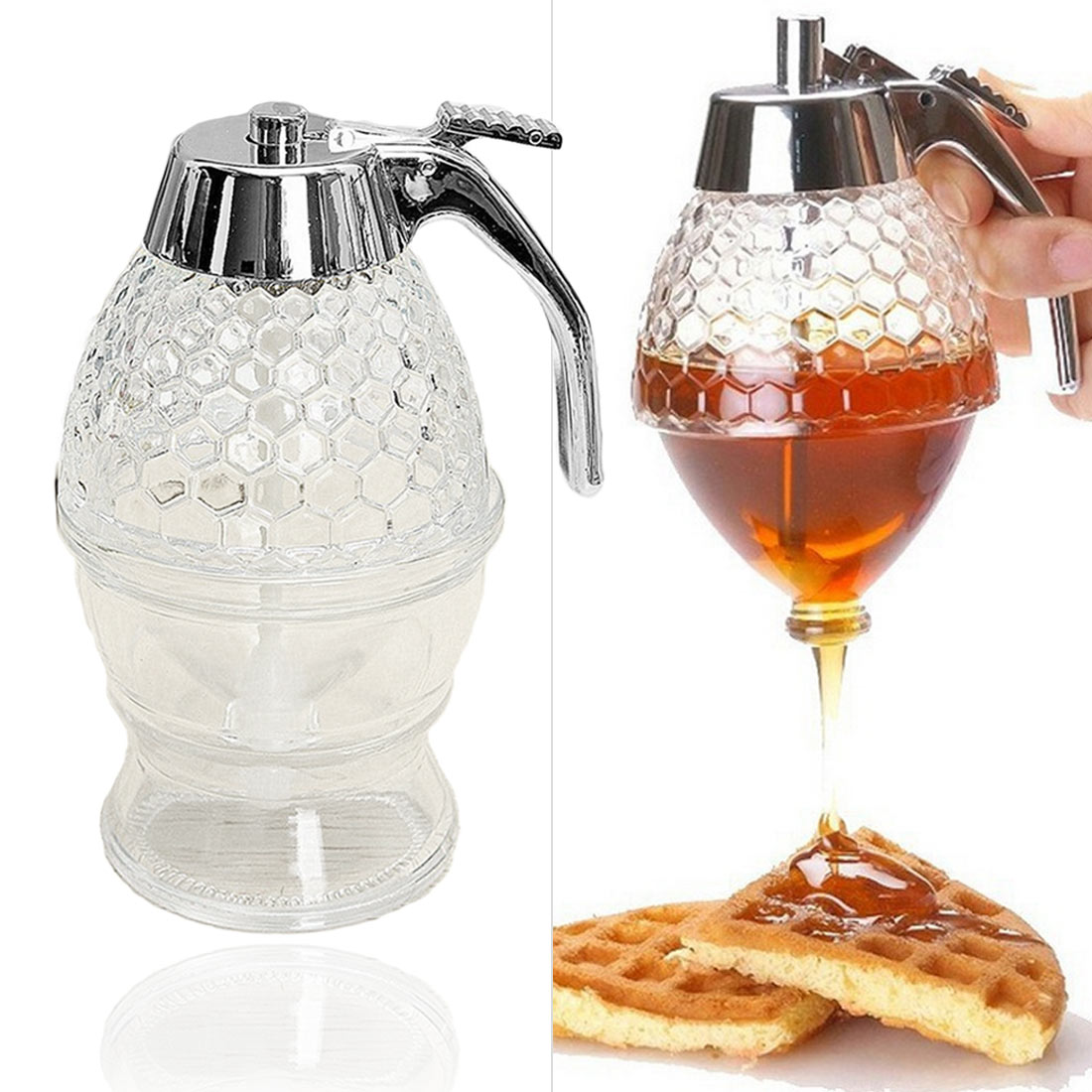 200ml Honey Syrup Dispenser Pot Honeycomb Bottle Honey Squeeze Dispenser Mini Juice Syrup Cup Bee Drip Dispenser Portable