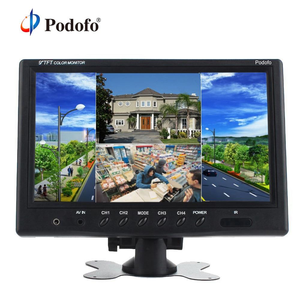 Podofo-شاشة TFT LCD مقسمة مقاس 9 بوصات ، رباعية المراقبة ، CCTV ، مسند رأس للسيارة ، مع 4 موصلات RCA و 6 أوضاع