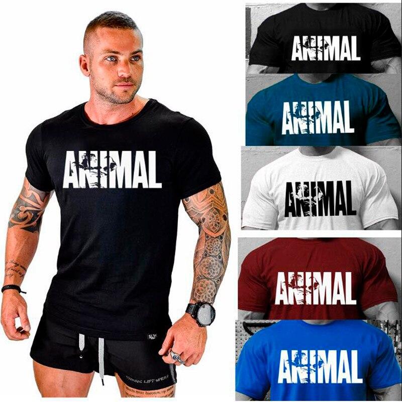 ¡Novedad de 2018! Camiseta de algodón con diseño de ANIMAL para hombre, de cuello redondo camiseta para ejercicio muscular, camiseta para hombre fuerte y guapo, top de marca de algodón