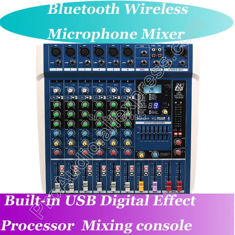 MICWL ZDR Pro 6 Channel Live Studio Mic Mixers Mixing Console Bluetooth Wireless USB 24-Bit DSP Digital Effect Processor