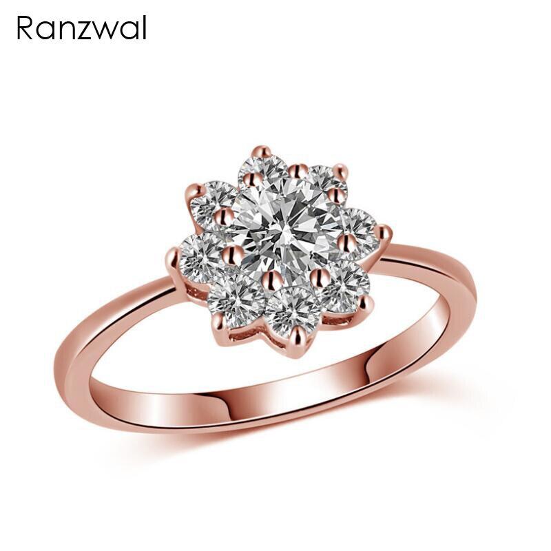 Ranzwal-anillos De Color dorado rosa para mujer, Anillo De Cristal De circonita...