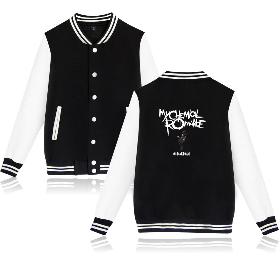 Meu romance químico jaquetas de beisebol bombardeiro jaqueta masculino feminino moletom preto desfile punk emo rock casual hoodies uniforme casaco