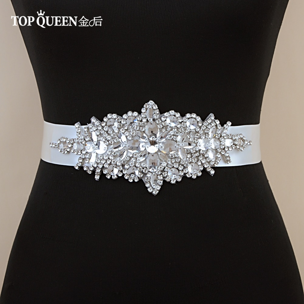 TOPQUEEN S01 Rhinestone Women's Belt Wedding Accessories Bride Bridesmaid Bridal Sashes Belts For Evening Party Prom Gown Dress