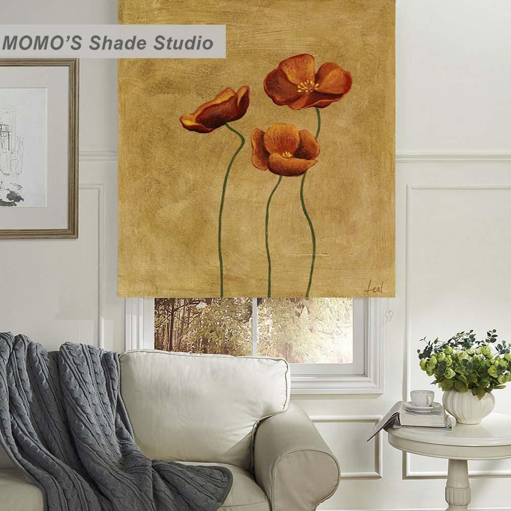 MOMO térmico aislado Blackout tela pintura personalizada cortinas de ventana persianas enrollables, PRB set484