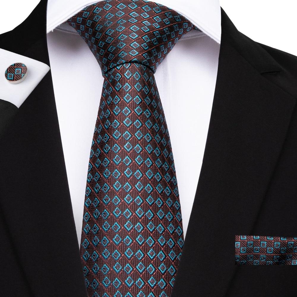 DiBanGu famosos lazos de Color marrón para hombres Jacquard seda tejida corbata traje para fiesta Formal boda corbatas SJT-7163